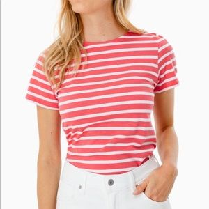 NEW• Saint James • Pink & White Striped Tee • T42